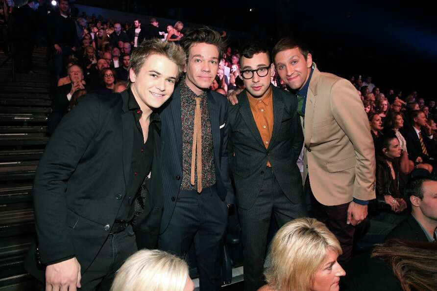 (L-R) Musicians Hunter Hayes and Nate Ruess, Jack Antonoff and Andrew Dost of Fun. attend The GRAMMY