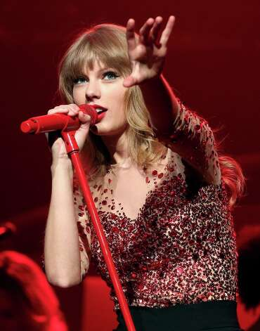 Taylor Swift's Red was released to late for this year's Grammys consideration, but her song We Are Never Ever Getting Back Together is up for Record of the Year.  She also received two other nominations for collaborations. Photo: Christopher Polk / 2012 Getty Images