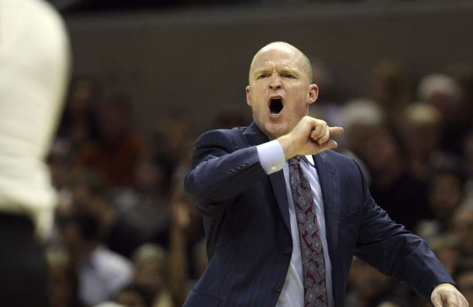 Milwaukee Bucks' Head Coach Scott Skiles gets a technical fould while arguring a call during the second half at the AT&T Center, Wednesday, Nov. 5, 2012. The Spurs won 110-99. (Jerry Lara / San Antonio Express-News)