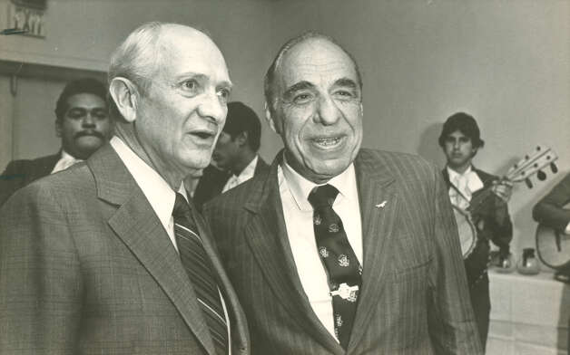 U.S. Reps. Jack B. Brooks and Henry B. Gonzales at the El Tropicano Conoranado Ballroom in 1981. Photo: Express-News File Photo