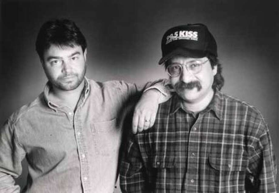 Radio station KISS-FM morning team John Lisle (left) and Steve Hahn appear in a 1997 promo photo.