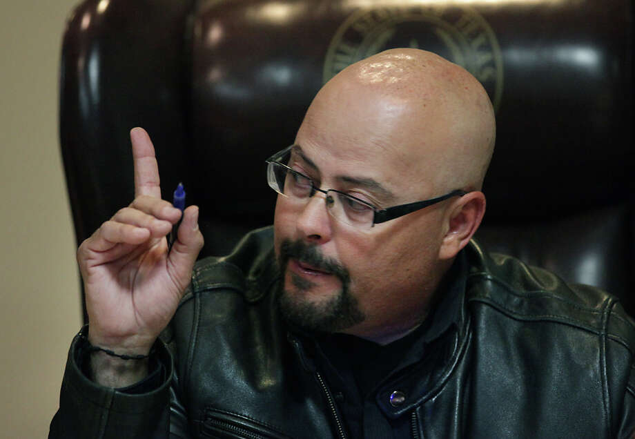 Maverick County Commissioner Eliaz Maldonado of Precinct 1, at a Commissioners meeting at the County Courthouse in Eagle Pass, Thursday, Nov. 29, 2012. Rudy Heredia, Commissioner of Precinct 2, and several county employees have been indicted for misuse of grant funds, among other charges. Photo: Bob Owen, San Antonio Express-News / © 2012 San Antonio Express-News