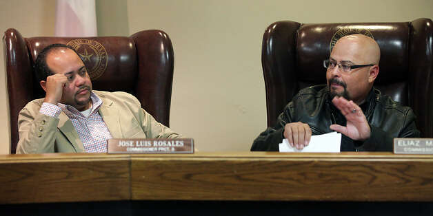 Maverick County Commissioners Jose Luis Rosales, left, of Precinct 3, and Eliaz Maldonado of Precinct 4 at a Commissioners meeting at the County Courthouse in Eagle Pass, Thursday, Nov. 29, 2012. Rudy Heredia, Commissioner of Precinct 2, and several county employees have been indicted for misuse of grant funds, among other charges. Photo: Bob Owen, San Antonio Express-News / © 2012 San Antonio Express-News