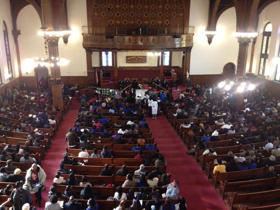 The funeral for Tonette Thomas, 20, is underway at Wilborn Temple First Church in Albany. Thomas was killed last week when, police said, her sister's ex-boyfriend went berserk inside the Myrtale Avenue apartment Thomas shared with her sister. (JOHN CARL D'ANNIBALE / TIMES UNION) Photo: John Carl D'Annibale Times Union