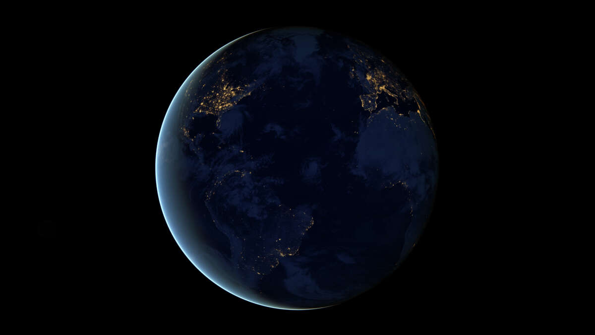 This NASA image from a composite assembled from data acquired by the Suomi NPP satellite in April and October 2012 shows the city lights of earth at night. The new data was mapped over existing Blue Marble imagery of Earth to provide a realistic view of the planet. The image was made possible by the new satellite's day-night band of the Visible Infrared Imaging Radiometer Suite