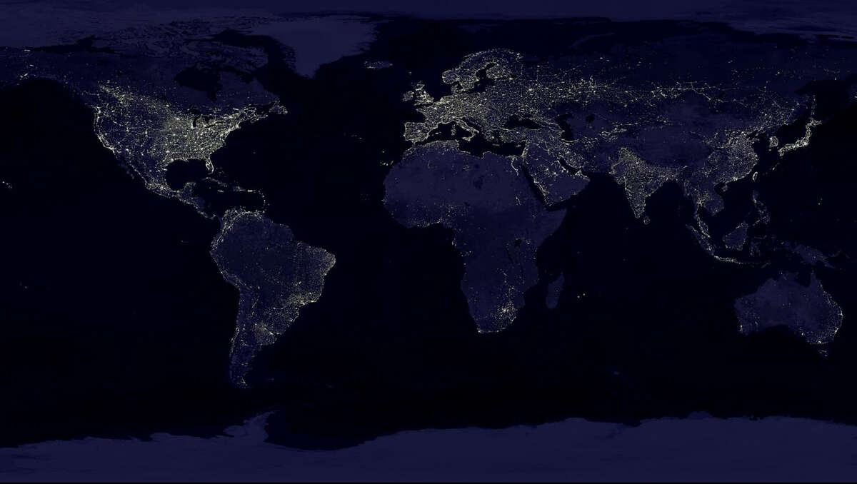 This NASA image from a composite assembled from data acquired by the Suomi NPP satellite in April and October 2012 shows the earth's city lights at night. It took 312 orbits to get a clear shot of every parcel of Earth's land surface and islands at night.The new data was mapped over existing Blue Marble imagery of Earth to provide a realistic view of the planet. The image was made possible by the new satellite's