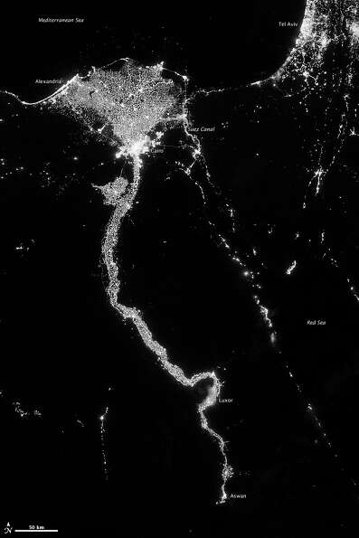 In this image from Oct. 13, 2012 provided by NASA, the Nile River valley and delta is seen at night