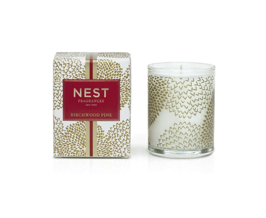 From Nest Fragrances this holiday season comes Birchwood Pine, a collection of candles scented with white pine, fir balsam, birchwood and musk and amber. Photo: Nest Fragrances