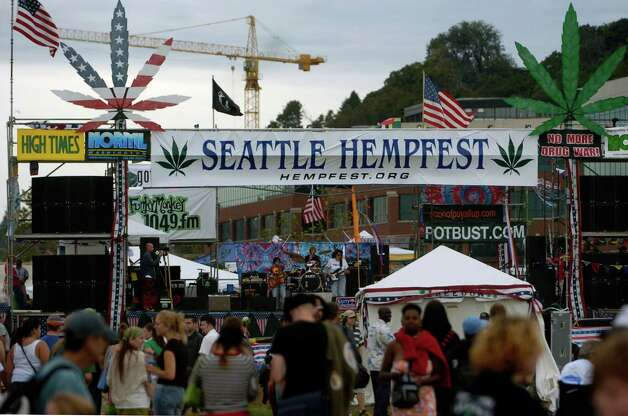 Seattle's Hempfest opens on August 21, 2004. The event is billed as the world's largest drug-policy reform rally. Photo: Ron Wurzer, Getty Images / 2004 Getty Images