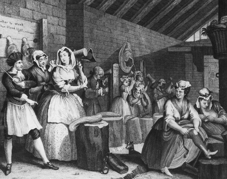 A scene in Bridewell Prison, where the harlot Moll Hackabout is sentenced to beat hemp, on Plate 4 o