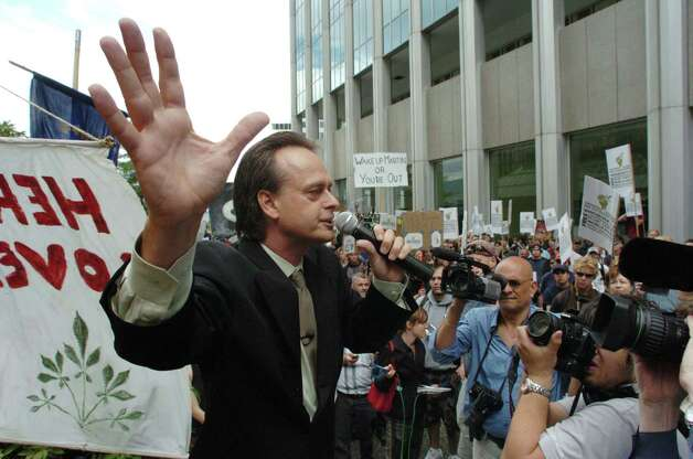 """Prince of Pot"" Marc Emery addresses a crowd of four hundred that attended an anti-extradition rally held for him in front of the U.S. Consulate on September 10, 2005 in Vancouver, B.C., Canada. Emery, leader of the British Columbia Marijuana Party, faced extradition for selling marijuana seeds on the internet. Photo: Don MacKinnon, Getty Images / 2005 Getty Images"