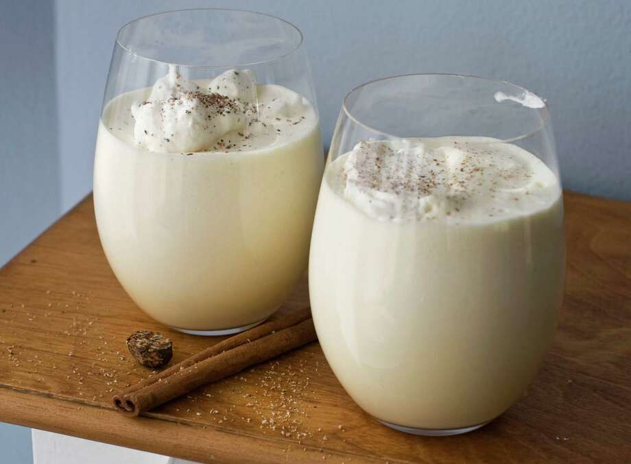15. Spiked eggnog- eggnog- 1 1/2 oz. dark rum, whiskey, bourbon or whatever- grated nutmegYou didn't think we'd leave this holiday classic off the list, did you? Here's the simple way. If you'd like to try making your own eggnog, we suggest checking out the entries on AllRecipes.com or some other cooking website. But for the lazy, spiked eggnog is ridiculously easy to make. Buy your favorite eggnog at the grocery store, fill up a small glass, add a shot of your favorite dark liquor, stir it up, sprinkle some nutmeg on top -- and sip away. Yum! Photo: Matthew Mead / Matthew Mead
