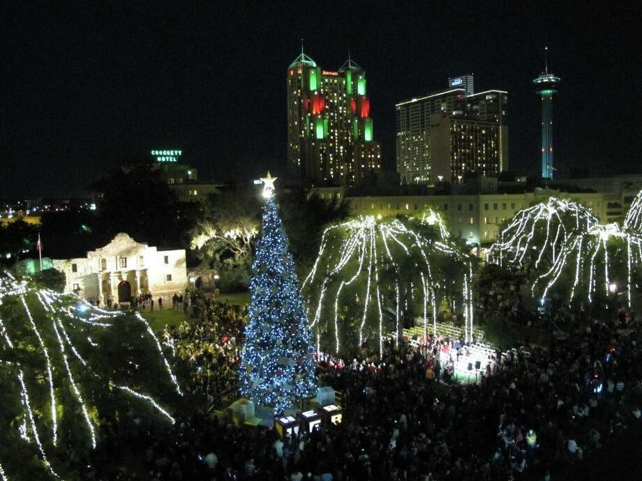 Alamo Plaza when it was lit on Nov. 23.