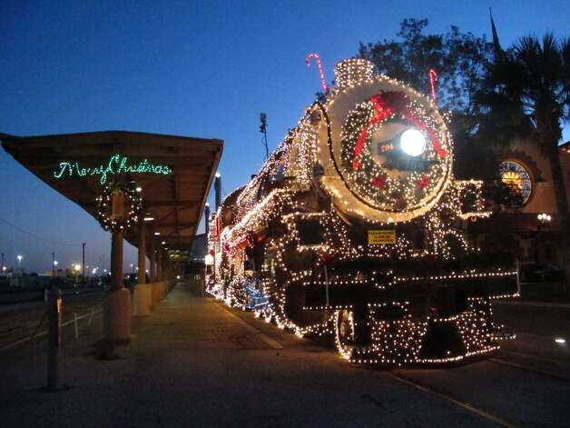 The Southern Pacific 794 lit up in all its glory at Sunset Station. It will be displayed like this every night, all night until Jan. 7.