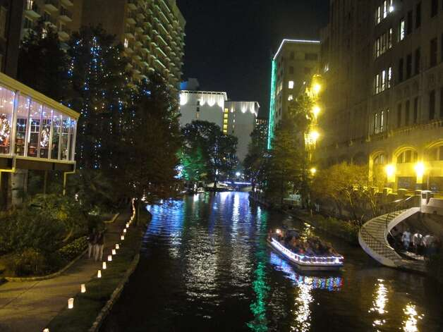 A variety of lights decorate the River Walk.