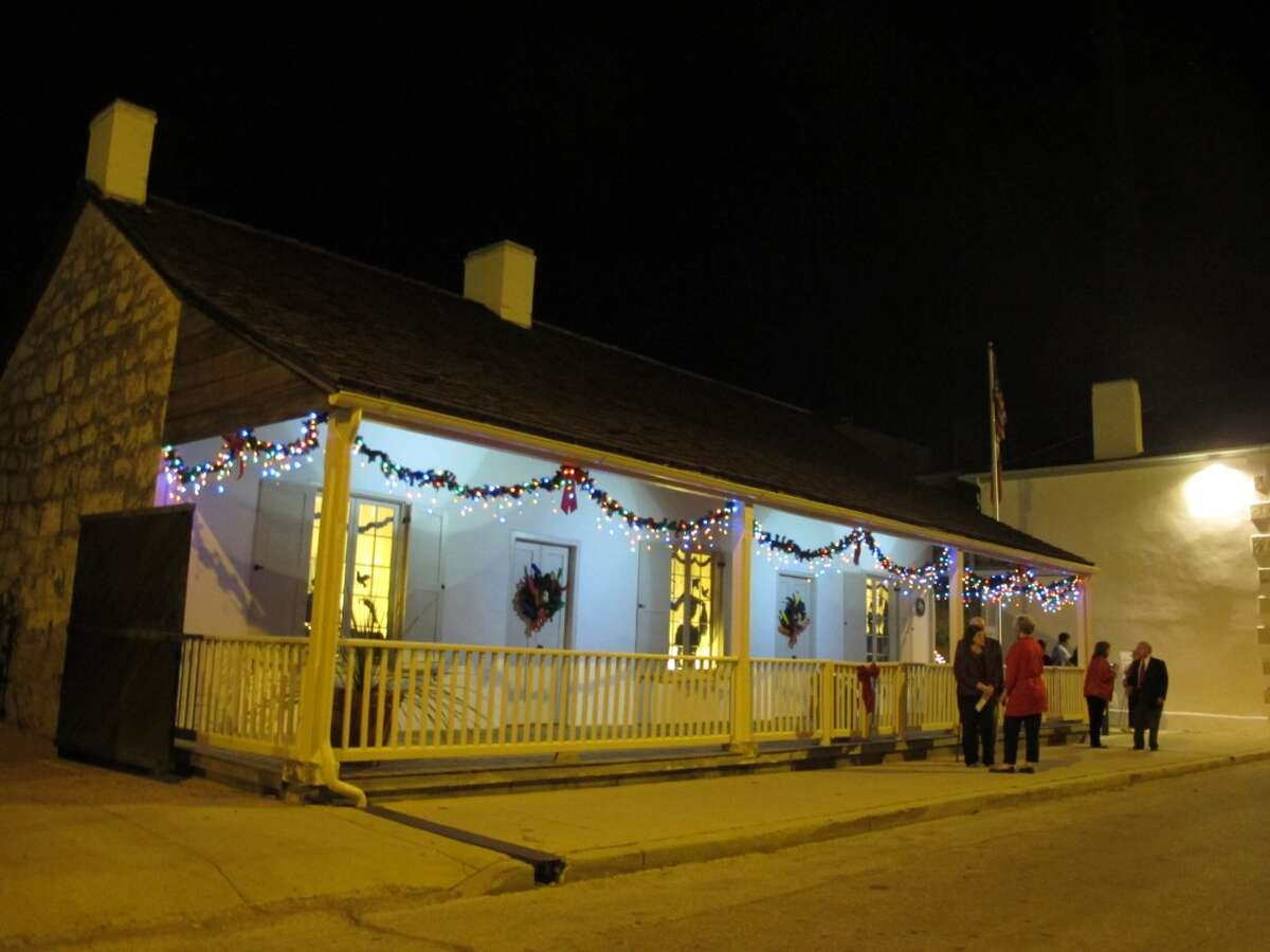 Casa Navarro is adorned with a few lights.