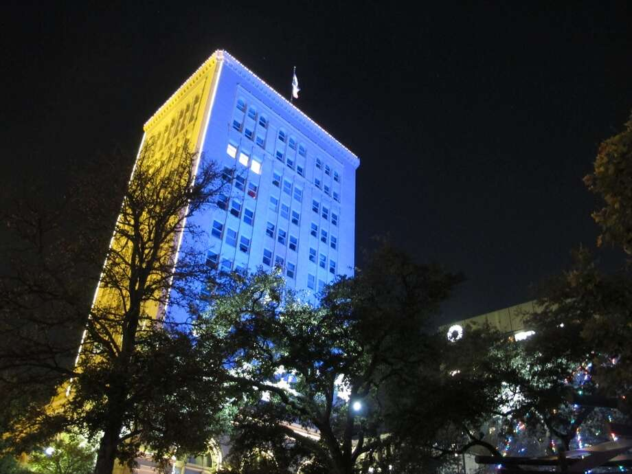 The Municipal Building is lit in various colors nightly.