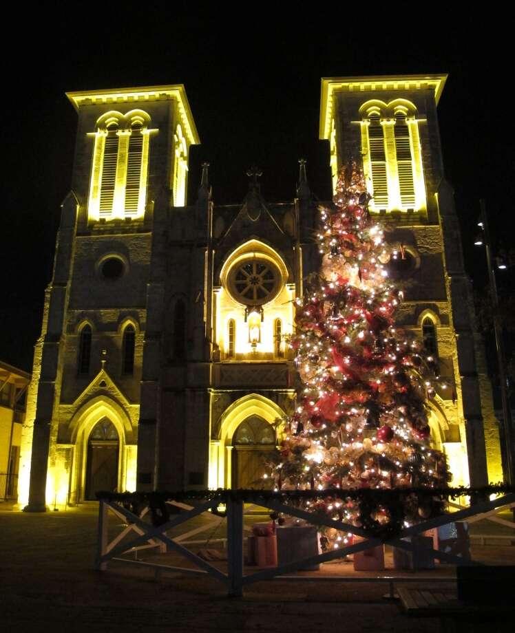 A Christmas tree outside San Fernando Cathedral at Main Plaza.