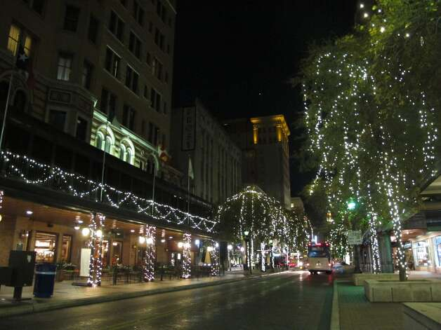 Houston Street is decorated in classical white lights.