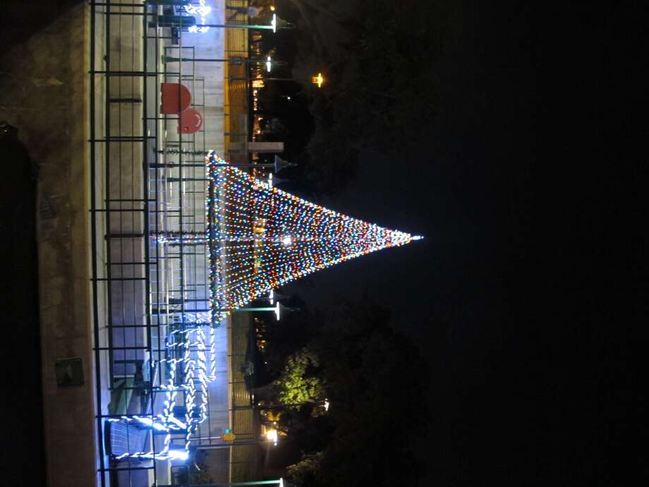 The Christmas tree at the lock and dam along the Museum Reach.