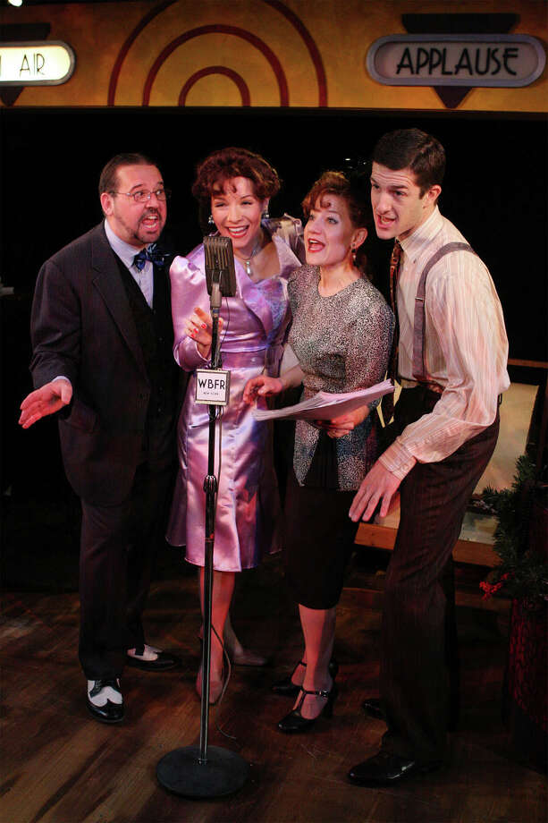 "Joe Landry's radio play version of ""It's a Wonderful Life"" is returning to its roots for two performances at Westport's Music Theatre of Connecticut on Saturday, Dec. 15. The cast includes (left to right) Jim Schilling, Amy Russ, Kathy Calahan and D. Matt Sorley. Photo: Contributed Photo"
