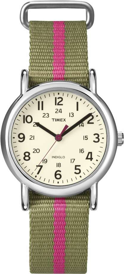 A WatchWith a pink stripe.