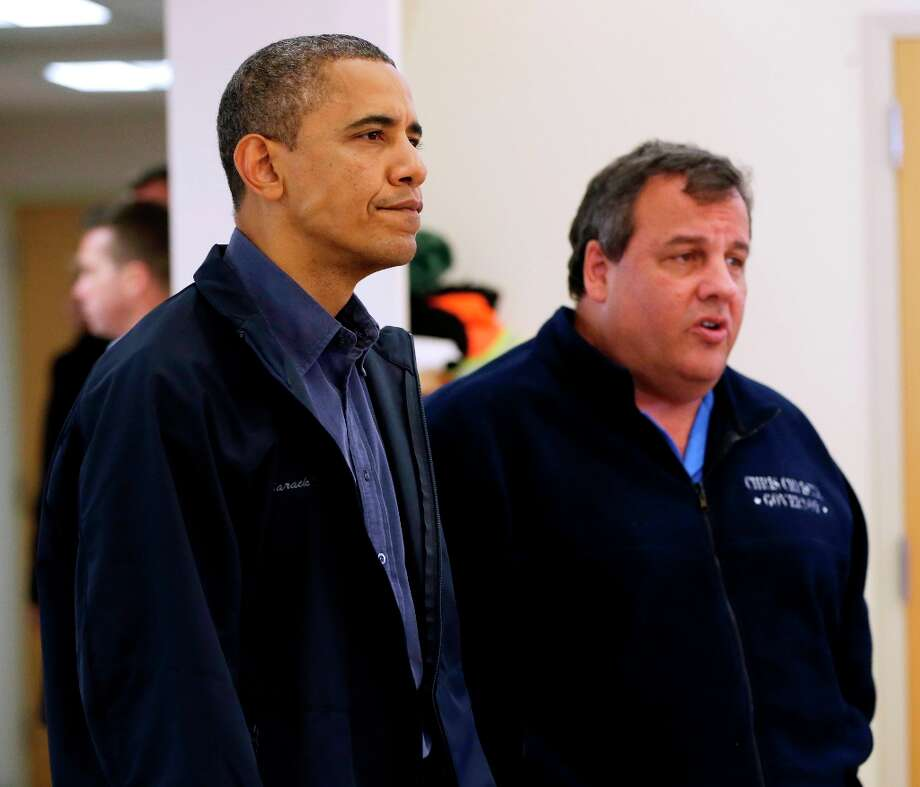 President Barack Obama and New Jersey Gov. Chris Christie visit the Brigantine Beach Community Center to meet with local residents, Wednesday, Oct. 31, 2012,  in Brigantine, NJ. Obama traveled to Atlantic Coast to see first-hand the relief efforts after Superstorm Sandy damage the Atlantic Coast. (AP Photo/Pablo Martinez Monsivais) Photo: Pablo Martinez Monsivais, Associated Press / AP