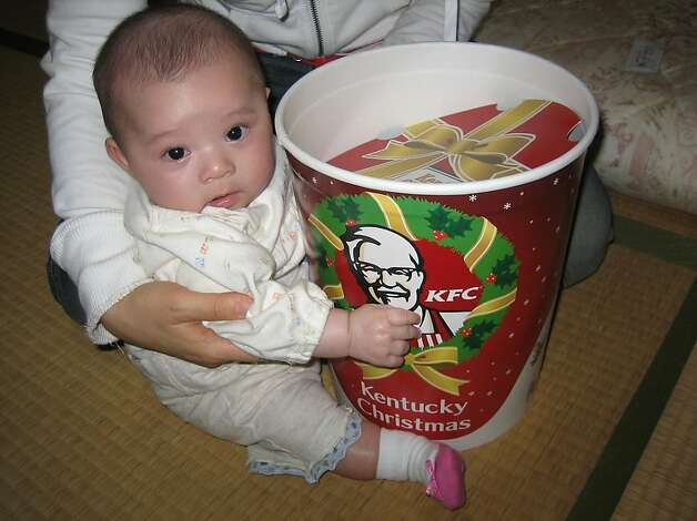 Japan - KFC for Christmas dinner   In many Japanese homes a KFC bucket with fried chicken is the main dish at Christmas. Thanks to a lack of turkeys and smart marketing by KFC the fried chicken  is so popular you have to order weeks in advance for the holidays. Ozchin/Flickr Photo: Ozchin (flickr)