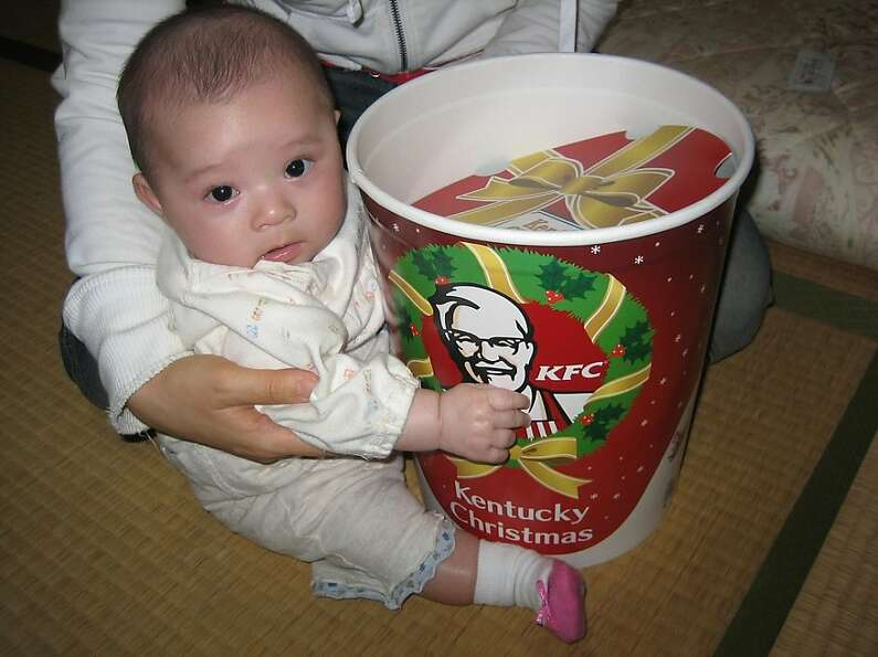 Japan - KFC for Christmas dinner   In many Japanese homes a KFC bucket with