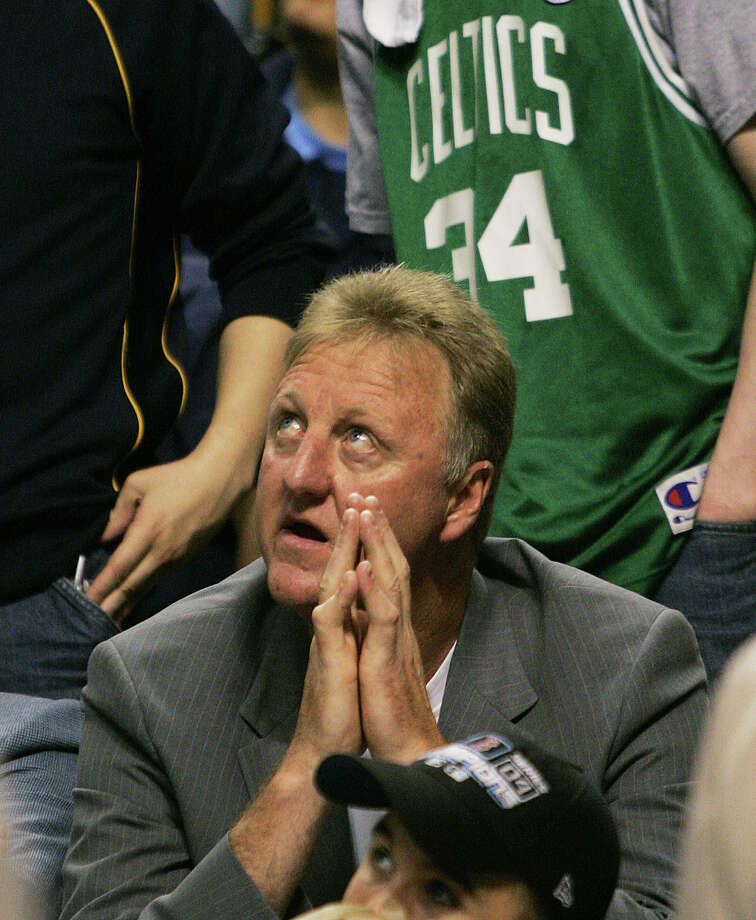 Indiana Pacers president of basketball operations and former Boston Celtics player, Larry Bird, reacts as he watches from the crowd during the second half of Game 1 of their first round playoff game against the Boston Celtics in Boston Saturday, April 23, 2005. (AP Photo/Elise Amendola) Photo: ELISE AMENDOLA