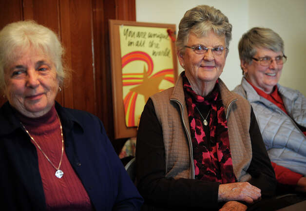 From left; Nuns Justine Nutz, Connie Carrigan, and Lorraine Quinn, at Caroline House in Bridgeport on Wednesday, December 5, 2012. Photo: Brian A. Pounds / Connecticut Post