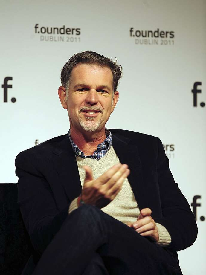 Reed Hastings, chief executive officer and president of Netflix Inc., speaks during an event at the Dublin Web Summit in Dublin, Ireland, on Friday, Oct. 28, 2011. Leaders of some of the world's leading technology companies gathered in Ireland for the Dublin Web Summit which runs Oct. 27-28. Photographer: Aidan Crawley/Bloomberg *** Local Caption *** Reed Hastings Photo: Aidan Crawley, Bloomberg