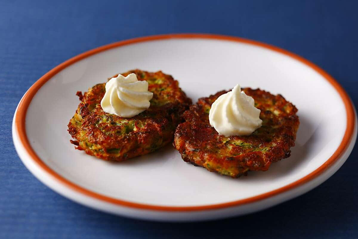 Zucchini Feta Pancakes as seen in San Francisco, California, on Wednesday, November 28, 2012. Food styled by Simon F. F. Young.