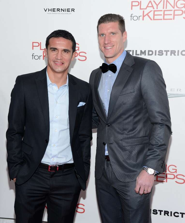 Tim Cahill and Kenny Cooper attend FilmDistrict and Chrysler with the Cinema Society Premiere of Playing For Keeps at AMC Lincoln Square Theater on December 5, 2012 in New York City.  (Photo by Andrew H. Walker/Getty Images) Photo: Andrew H. Walker, Getty Images / 2012 Getty Images