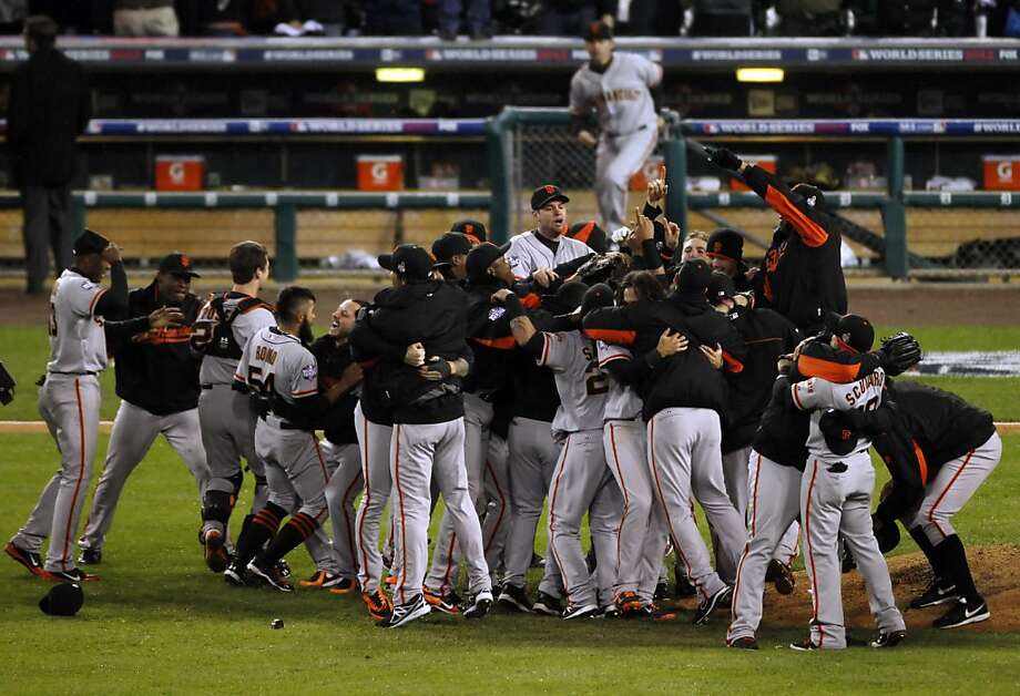 Most of the Giants celebrating their World Series victory in Detroit in October will be going to the team's Scottsdale facility for spring training in Arizona in February. Photo: Carlos Avila Gonzalez, The Chronicle