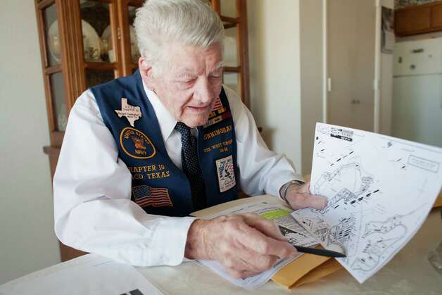 Richard Cunningham traces the path of his boat during the attack on Pearl Harbor from his home in Hewitt, Texas on December 4, 2012. Photo: Julia Robinson / © Julia Robinson Photo