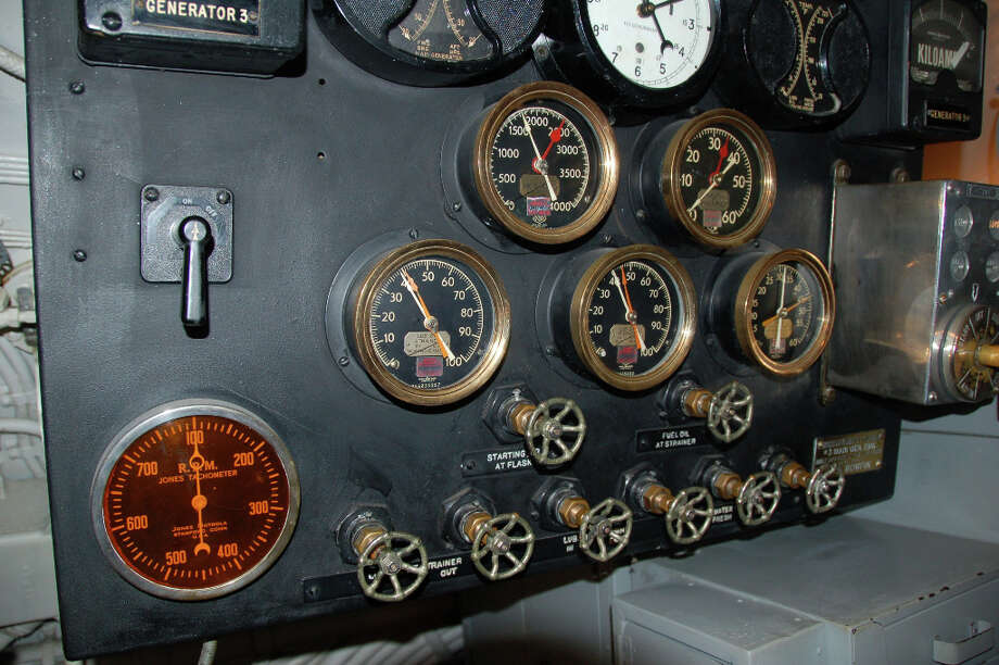 The sub's four main generators were monitored from this control panel. The Bowfin's four main engines helped it achieve a top surface speed of 20.25 knots and 8.75 knots submerged.  (Jeanne Cooper / SFGate)