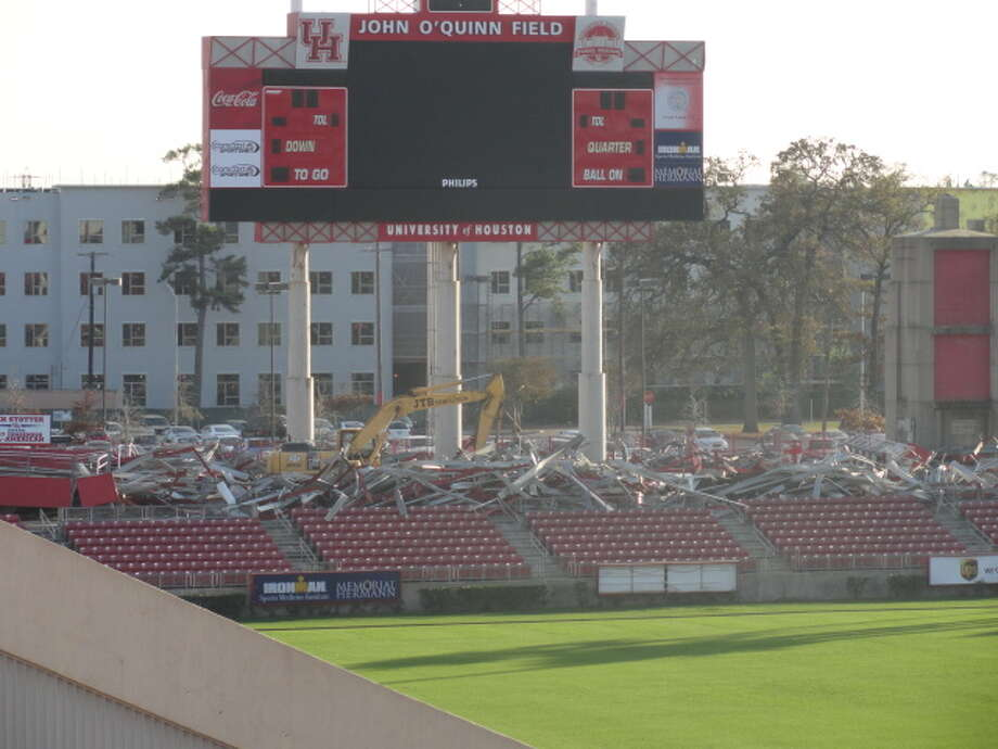 Demolition on Robertson Stadium began Dec. 2. (Joseph Duarte / Chronicle)