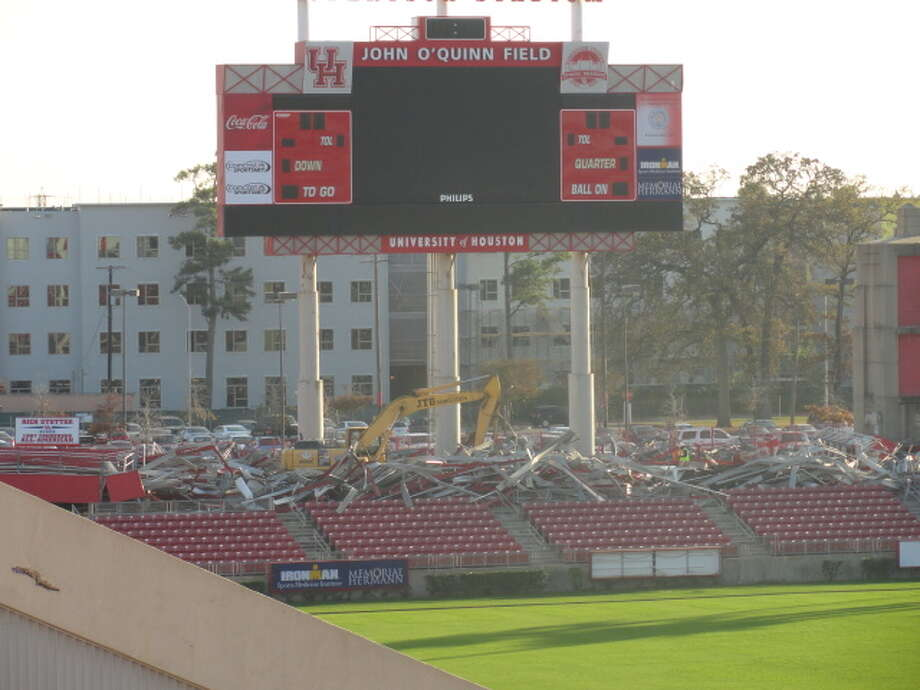 Demolition crews have removed the south end zone seats at Robertson Stadium during the first week of the demolition project. (Joseph Duarte / Chronicle)