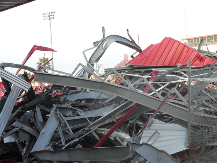 The demolition project is being conducted by Manhattan Construction Company, which will construct the Cougars' new stadium, JTB Services and Lindamood Demolition. (Joseph Duarte / Chronicle)
