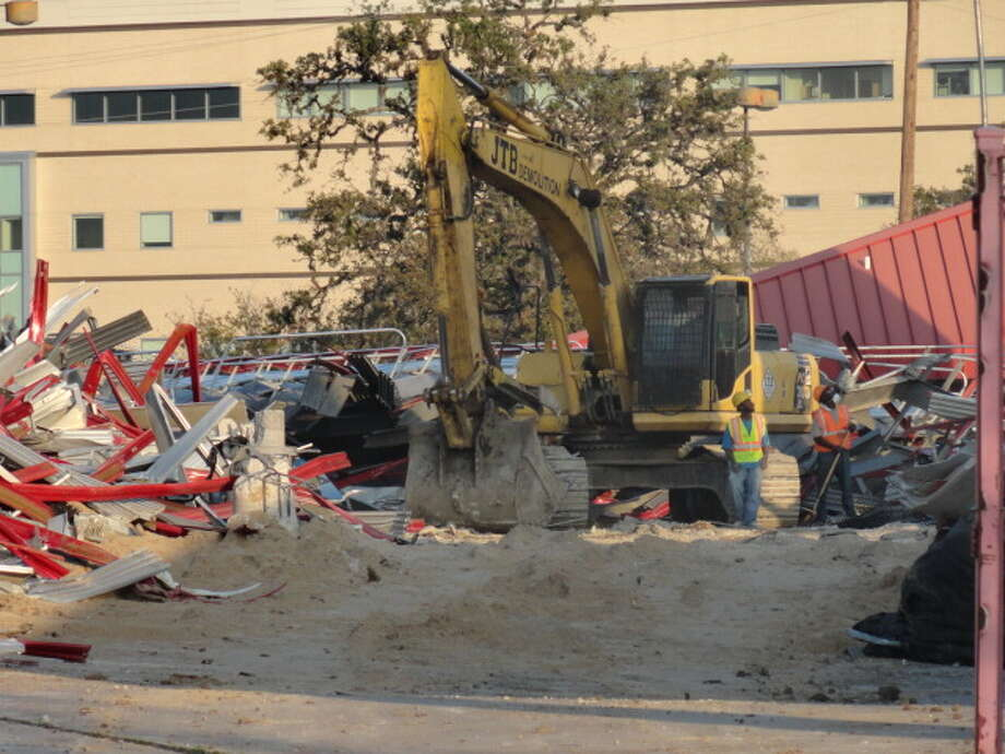 Demolition crews have been working to remove the south end zone seats at Robertson Stadium. (Joseph Duarte / Chronicle)