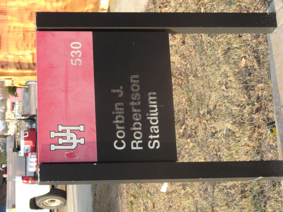 A sign outside Robertson Stadium. (Joseph Duarte / Chronicle)