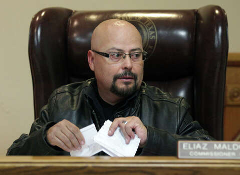Maverick County Commissioner Eliaz Maldonado of Precinct 1 at a Commissioners meeting at the County Courthouse in Eagle Pass, Thursday, Nov. 29, 2012. Rudy Heredia, Commissioner of Precinct 2, and several county employees have been indicted for misuse of grant funds, among other charges. Photo: Bob Owen, San Antonio Express-News / © 2012 San Antonio Express-News