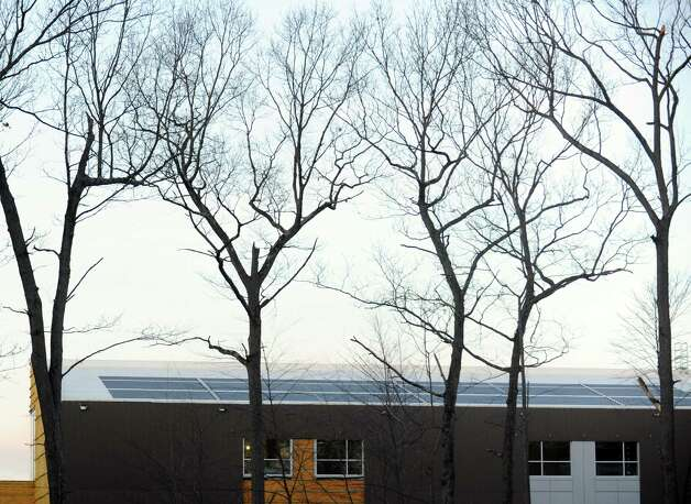 Solar panels at the new Fairchild Wheeler Multi-Magnet High School in Bridgeport Thursday, Dec. 6, 2012. Photo: Autumn Driscoll / Connecticut Post