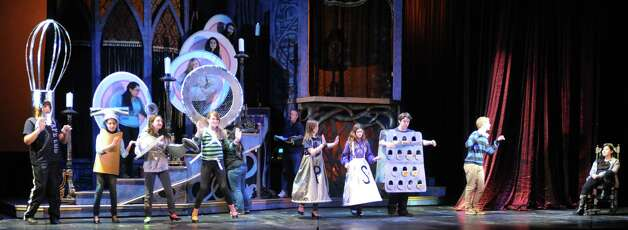 "The cast of Stamford's All-School musical  ""Beauty and the Beast""  rehearses the ""Be Our Guest"" scene on Thursday Dec. 6, 2012. Weekend performances are Dec. 7 & 8 at 7:30 pm and Dec. 9 at 3:00 pm at Rippowam Middle School, 381 High Ridge Rd. in Stamford, Conn. Photo: Cathy Zuraw / Stamford Advocate"