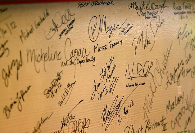 A signed I-beam waits covered in signatures to be added to the highest point of the new 49ers stadium in Santa Clara, Calif., Thursday, December 6, 2012. Photo: Sarah Rice, Special To The Chronicle