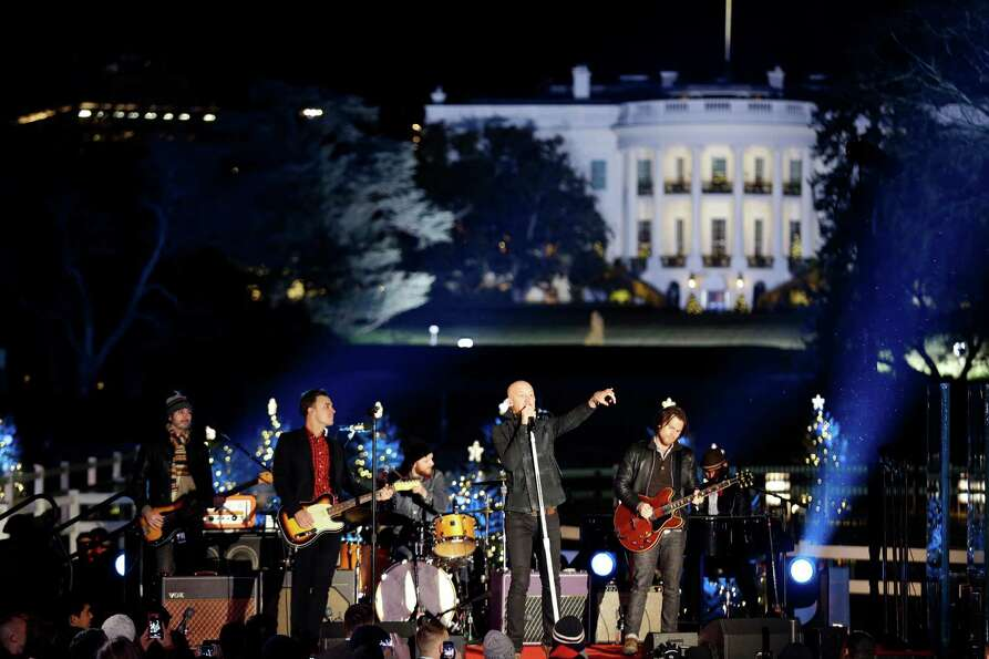 The Fray performs during the 90th annual National Christmas Tree Lighting ceremony on the Ellipse so