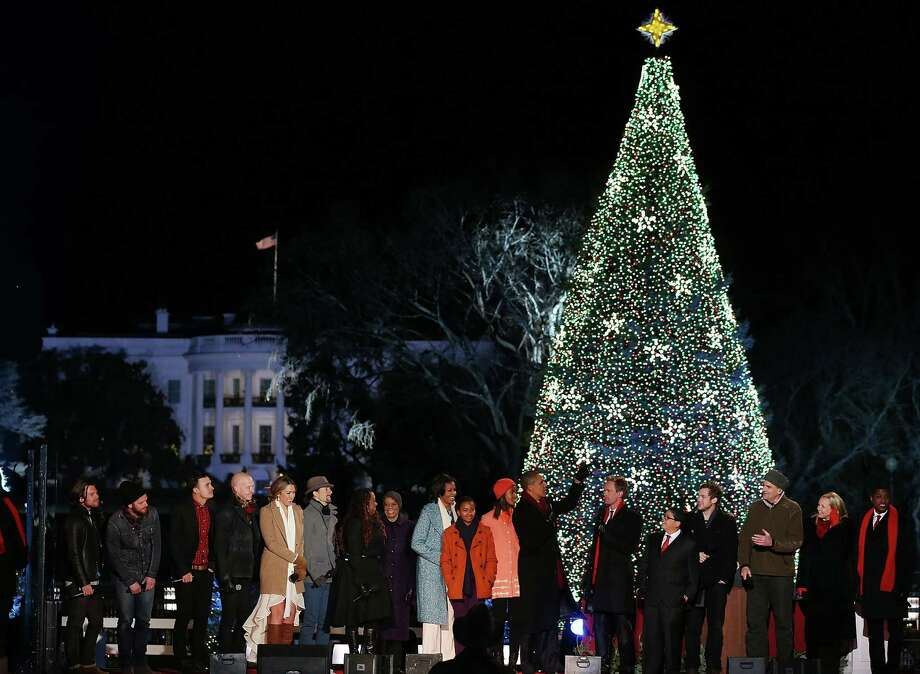 U.S. President Barack Obama and his family are joined by entertainers onstage while singing Christmas songs during the annual lighting of the National Christmas tree on December 6, 2012 in Washington, DC. This year is the 90th annual National Christmas Tree Lighting Ceremony. Photo: Mark Wilson, Getty Images / 2012 Getty Images
