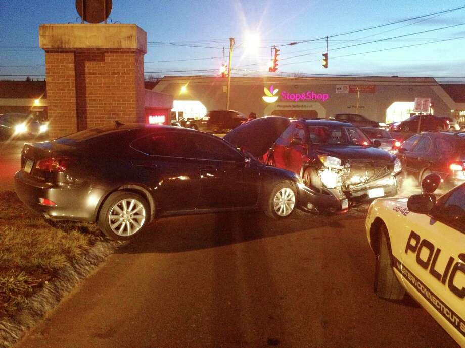One person was hospitalized after a three vehicle crash Thursday on University Boulevard near the intersection of Lake Avenue Extension. Photo: John Pirro / News-Times