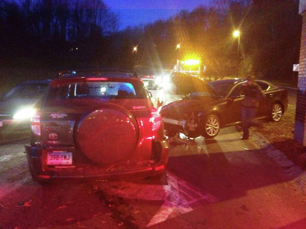 One person was hospitalized after a three vehicle crash Thursday on University Boulevard near the intersection of Lake Avenue Extension.